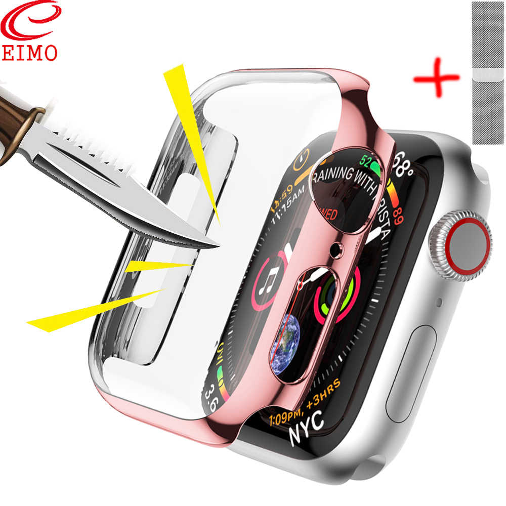 Screen Protective Case for Apple Watch 4 3 apple watch band iwatch band 42mm 44mm 38mm 40mm Shatter-Resistant Protector Shell