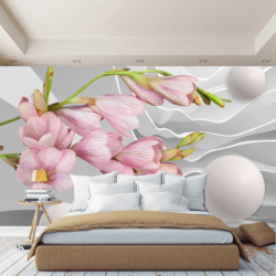 3D wall mural flowers pink abstraction, wallpaper on the wall, for Hall, kitchen, bedroom, nursery, wall mural expanding space