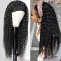 Remy Human Hair Curly Headband Wig Glueless Brazilian Curly Full Machine Made Wigs Human Hair Scarf Wig For Black Women