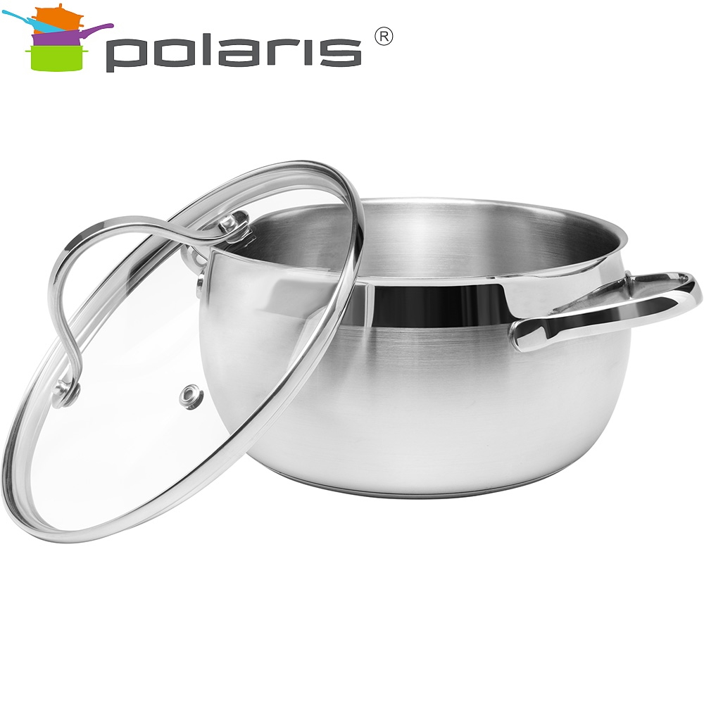 Saucepan with lid Polaris Sonata-20C Kitchen Pans Set of pans Induction pots Stainless steel pots Steel cookware Induction cookw все цены