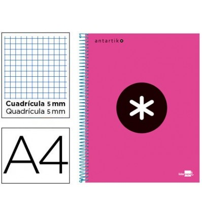 SPIRAL NOTEBOOK LEADERPAPER A4 MICRO ANTARTIK LINED TOP 120H 100 GR CUADRO5MM 5 BANDS 4 HOLES PINK