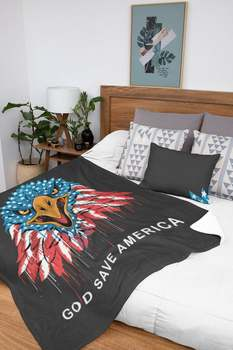 Bóg Save America Eagle koc flaga orzeł koc gwiazda i paski Patriot koc amerykański koc usa koc koc tanie i dobre opinie TW (pochodzenie)
