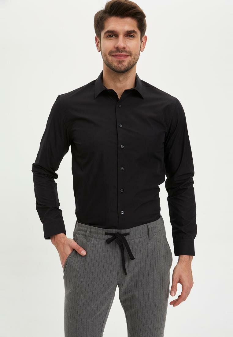 DeFacto Man Long Sleeve Shirt Men Smart Casual Shirts Men Black White Long Sleeve Shirts Business Shirts-M8449AZ20SP