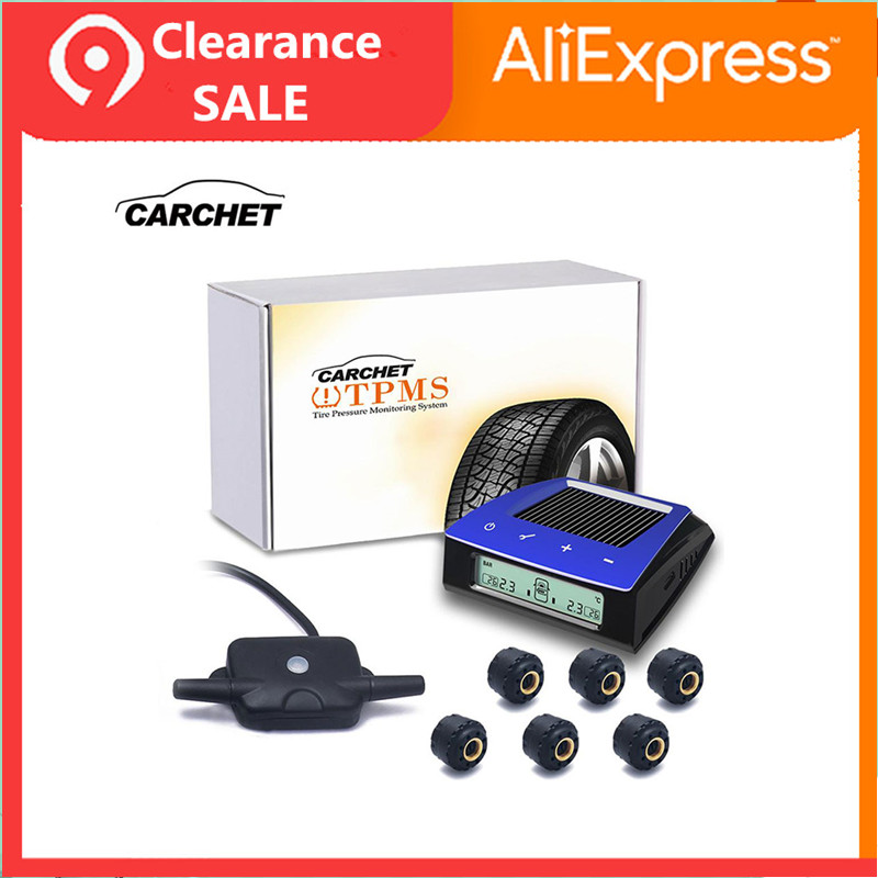 CARCHET Wireless RV Solar Tire Pressure Monitor System TPMS 6 External Sensors Car Truck RV Trailar TPMS 6 sensors LCD Display in Tire Pressure Alarm from Automobiles Motorcycles