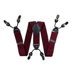 Подтяжки для брюк широкие (4 см, 6 клипс, Бордовый) 55137