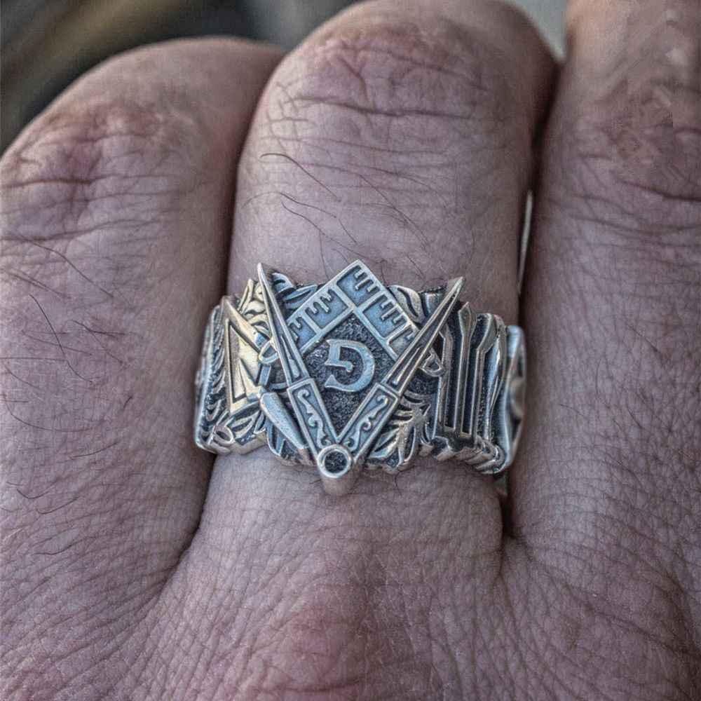 EYHIMD 男性フリーメーソンリングシルバーステンレス鋼フリーメーソンのシンボルリングフリーメーソンのテンプル騎士団ジュエリー