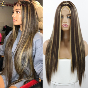 Linghang Long Synthetic Natural Wave Brown to Golden Blonde Ombre Hair Wig Daily Wear Wigs for White /Black women