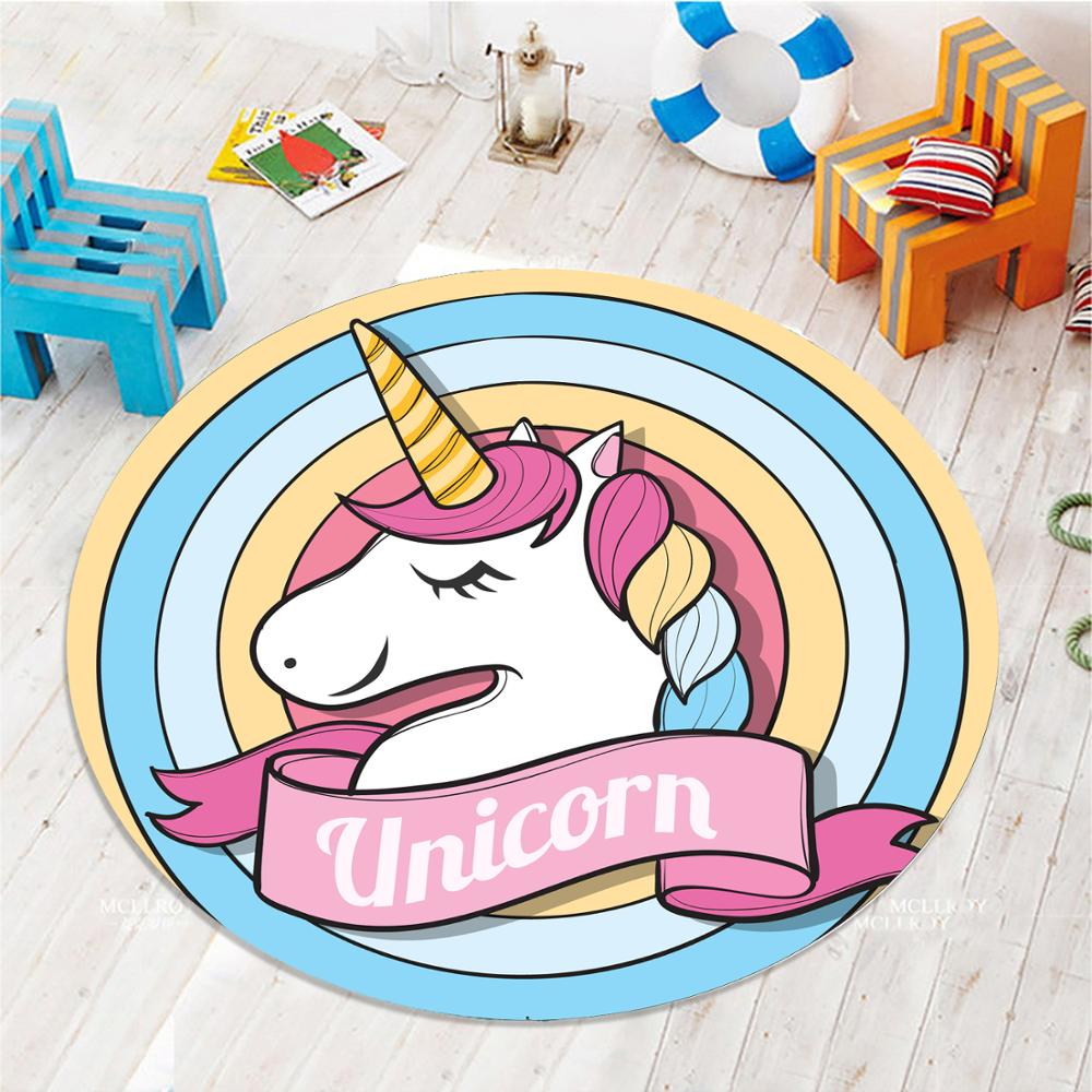 Else Colored Rainbow Unicorn Horses  3d Pattern Print Anti Slip Back Round Carpets Area Round Rug For Kids Baby Children Room