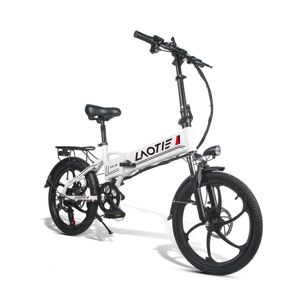 Лаоти®PX5 48V 10.4Ah 350W 20in складной электрический скутер мопед велосипед 35 км/ч Топ Скорость 80 км пройденное расстояние в милях для е-байка штепсе...
