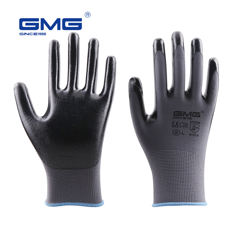 Construction Gloves GMG Grey Polyester Black Nitrile Coating Work Safety Gloves Oil Proof Waterproof Mechanics Nitrile Gloves
