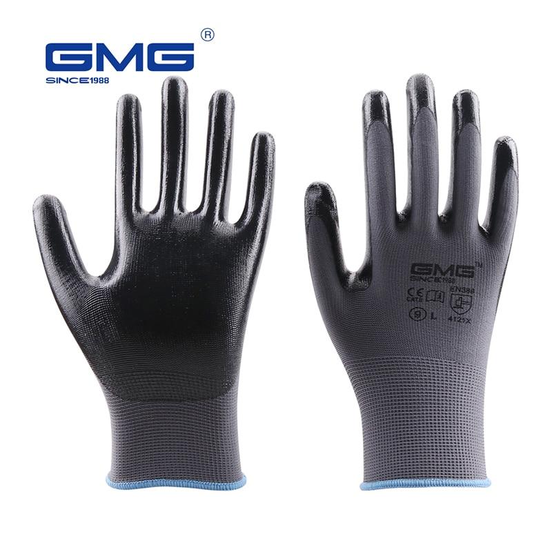 Construction Gloves GMG Grey Polyester Black Nitrile Coating Work Safety Gloves Oil Proof Waterproof Mechanics Nitrile Gloves