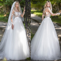 Formal Spring Women Scoop Long Sleeves Lace Appliques White Wedding Dresses Bridal Gowns Custom Princess Robe De Mariee