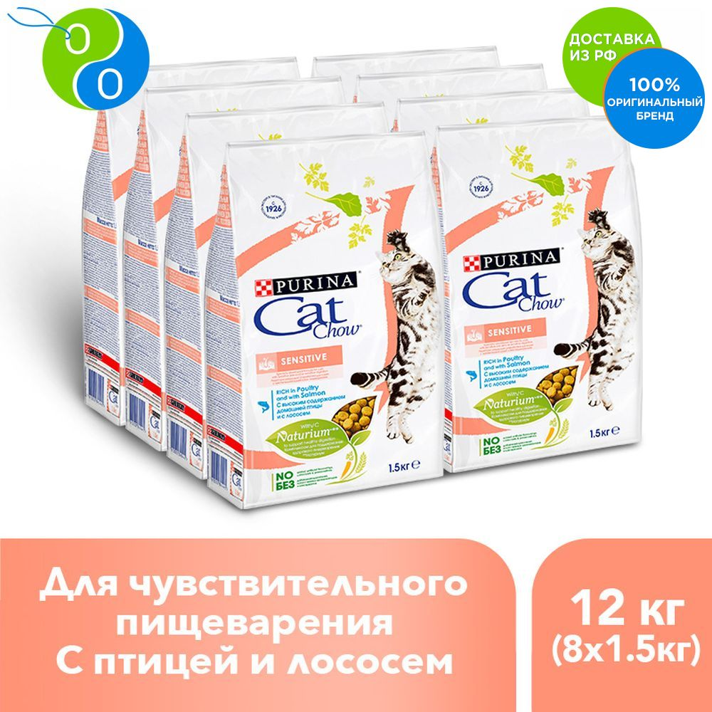 A set of dry food Cat Chow for adult cats with sensitive digestive high in poultry, salmon, package, 1.5 kg x 8 pcs.,CatChow, Cat Chow, Cat Chow Cat show SET chow, cat food, pet food, feed for cats, feed for adult cats cat chow dry food for adult cats with high poultry content 400 g