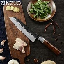 Cuchillo de cocina forjado japonés de ZINZUO kitsuke, cuchillos de Chef hechos a mano, hoja de carbono afilado con mango de madera, utensilios de cocina