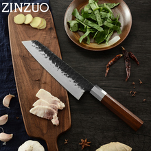 ZINZUO Japanese Forged Kitchen Knife Kirisuke Handmade Slicing Chef Knives High Carbon Sharp Blade Wood Handle Cooking Tools