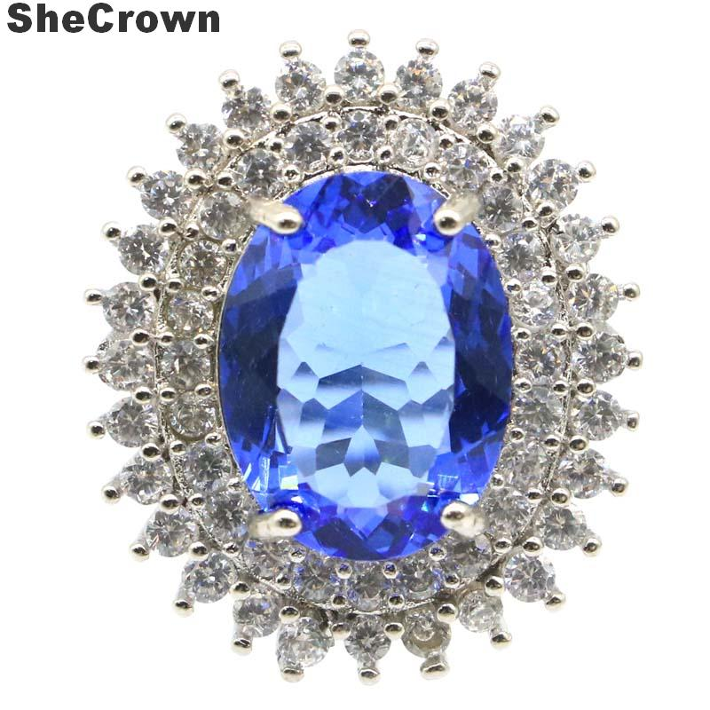 27x23mm Elegant SheCrown Created Rich Blue Violet Tanzanite White CZ Gift For Sister Silver Rings