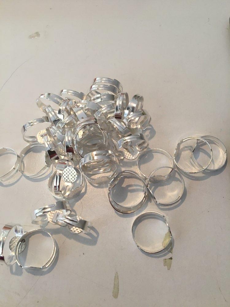 cran Silver r0049 5pcs Open Bague Circle With Mesh Pad 19 Mm GOLD SILVER
