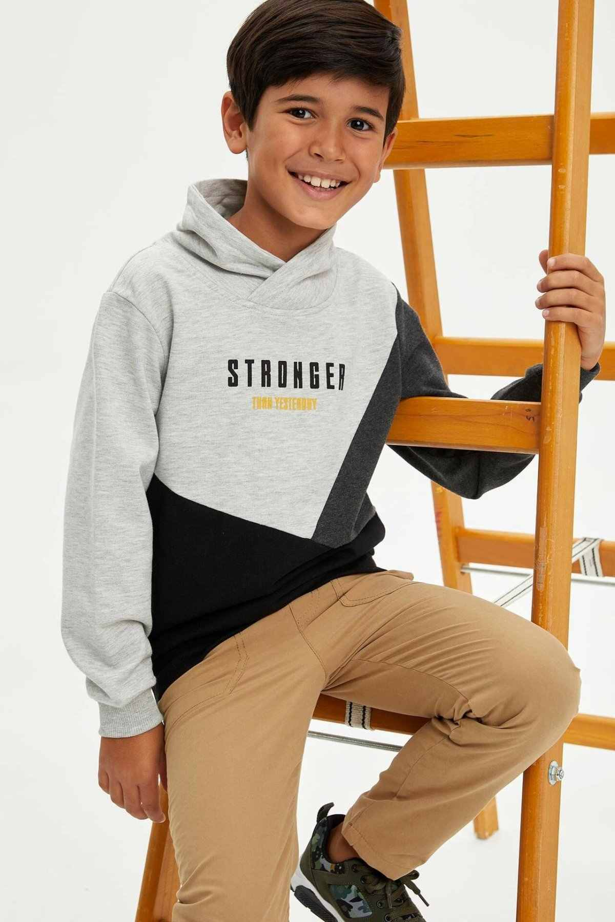 DeFacto ילד אופנה טלאים מקרית דש צווארון ארוך שרוולים חולצות סתיו פנאי Loose בני-L3267A619WN