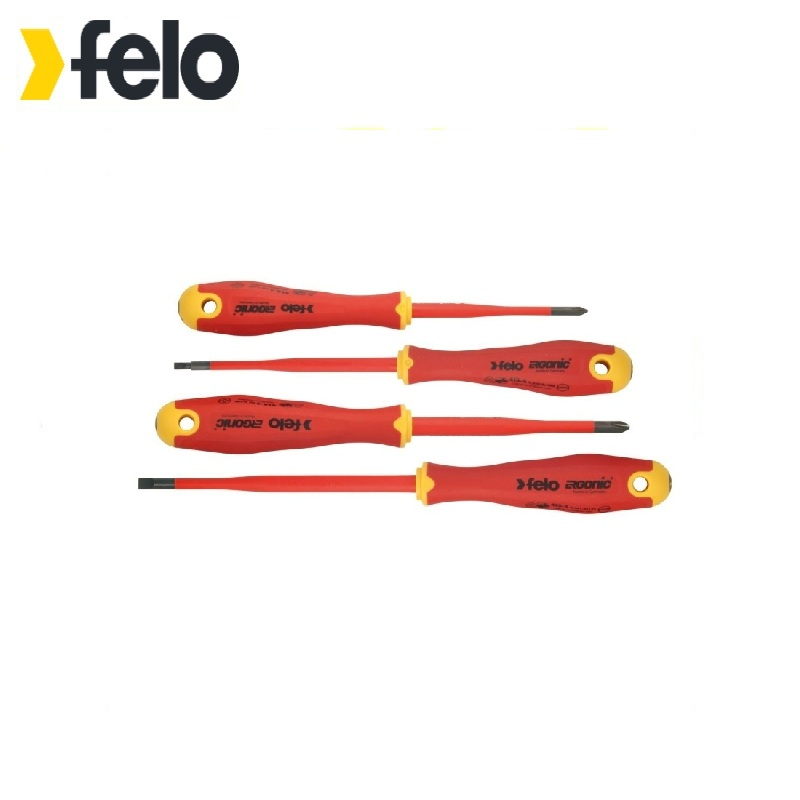 Felo Set of dielectric screw-drivers Ergonic 4 pieces Slim series 41384198 Hand Tool Sets Magnetized tip baby set of 4 pieces cotton box baby set of 4 pieces