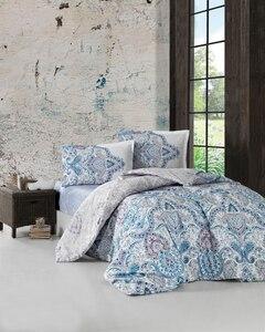 Комплект постельного белья Paliza, 100% хлопок, Комплект постельного белья, синий, двуспальный, двуспальный, пододеяльник, люкс, современный, ром...