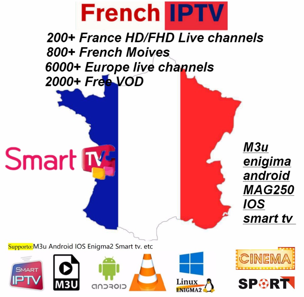 Europe IPTV Germany IPTV French IPTV  2000+ Live Free VOD Support Android M3u Enigma2 Mag250 TVIP 2000+Vod