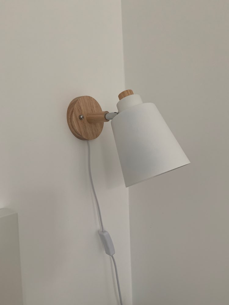 Wood Wall Lamp with plug and 1.2 meters Line Cable with Knob Switch Creative Bedside wall light US/EU plug 10cm wooden base