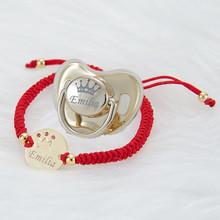 MIYOCAR Personalisierte reales gold platte bling schnuller edelstahl armband set BPA FREI Luxus einzigartige design schnuller PB cheap CN (Herkunft) 0 Monate silicone 0-6m 7-12m 13-24m Charakter Friedensstifter