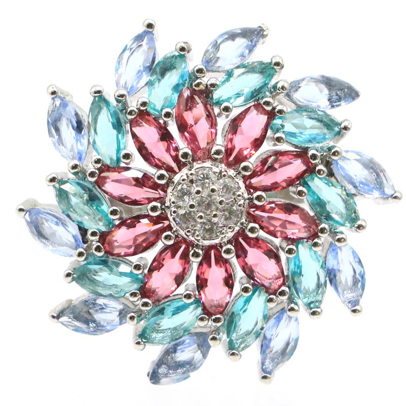24x24mm Multi Color Created Garnet Aquamarine Tanzanite CZ Gift For Woman's Jewelry Making Silver Rings