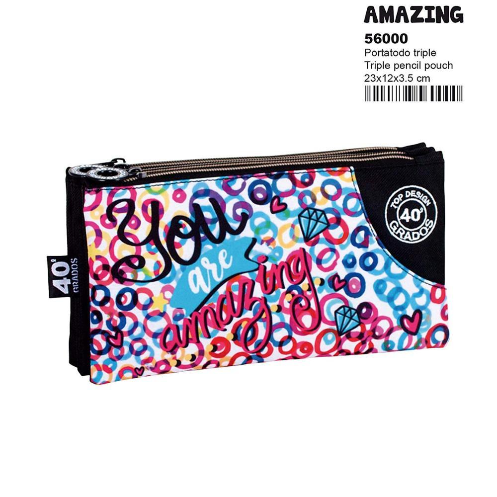 Montichelvo Montichelvo Triple Pencil Pouch CG Amazing Cases, 23 Cm, (Multicolour)