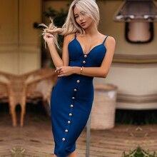 Adyce 2020 Summer Blue Bandage Dress Women Vestidos Elegant Celebrity Runway Party Dress Spaghetti Strap Nightclub Bodycon Dress