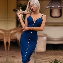 Adyce 2020 קיץ כחול תחבושת שמלת נשים Vestidos אלגנטי סלבריטאים מסלול המפלגה שמלת ספגטי רצועת מועדון לילה Bodycon שמלה