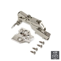 Lot of 10 hinges supercodo X91 Emuca opening 165 ° with soft closing and supplements for screwing regulation eccentric