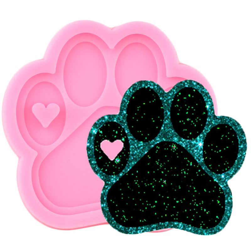 DIY Shiny Bear Paw And Love Shape Silicone Molds Epoxy Resin Jewelry Making