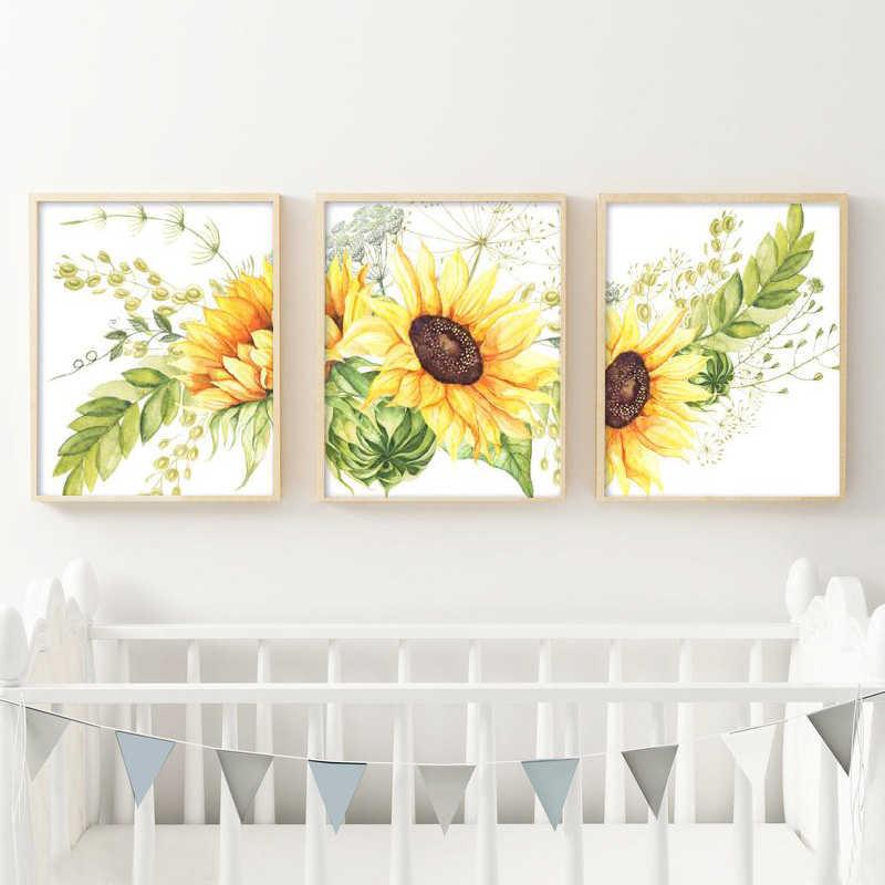 sunflower Print a4 picture poster unframed WATERCOLOUR EFFECT WALL ART 26