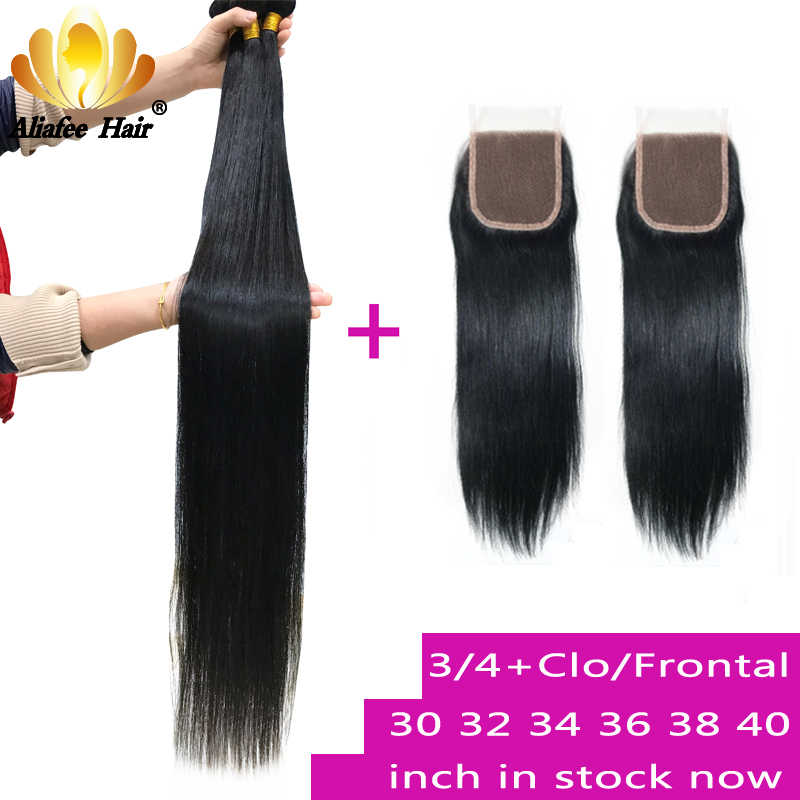 30 32 34 36 38 40 Inches Malaysian Straight Hair Bundles With Closure Or Frontal Non-Remy Hair Weave 100% Human Hair Extensions