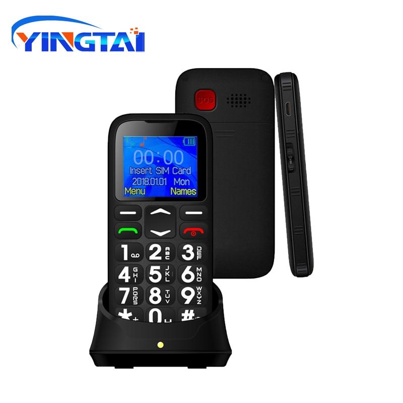 YINGTAI T19 Push-button Telephone Single SIM Long Standby Senior GSM Keys SOS Mobile Phone No Camera Cellphone FM Celulares Crad
