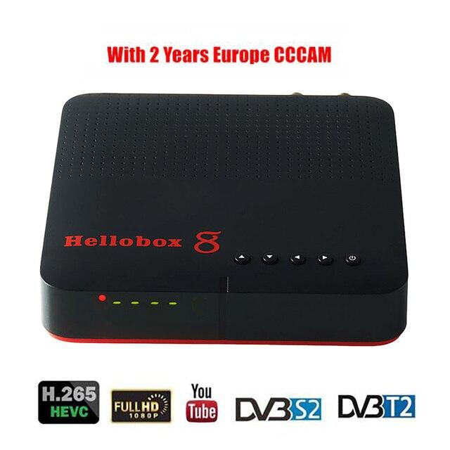 Hellobox 8 receptor de satélite digital h.265 hd completo 1080p dvb c DVB S2 DVB T2 combinação cccam receptor suporte tv jogar no telefone
