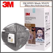Masque noir jetable, lot de 20 pièces, 3M, KN95, 9541V/9542V, respirateur en carbone avec Valve, masque de protection contre le Smog, GM954XX