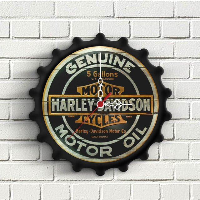 Personalized Harley Davidson Design Wooden Wall Clock