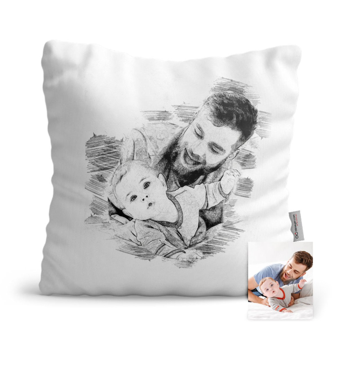 Father's Day Custom Father Son Charcoal Satin Pillow