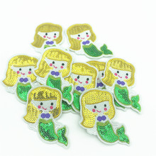 100pcs Wholesale Sequins Mermaid Patches Iron on Patchwork for Clothes Bags DIY Sewing  Applique Sticker