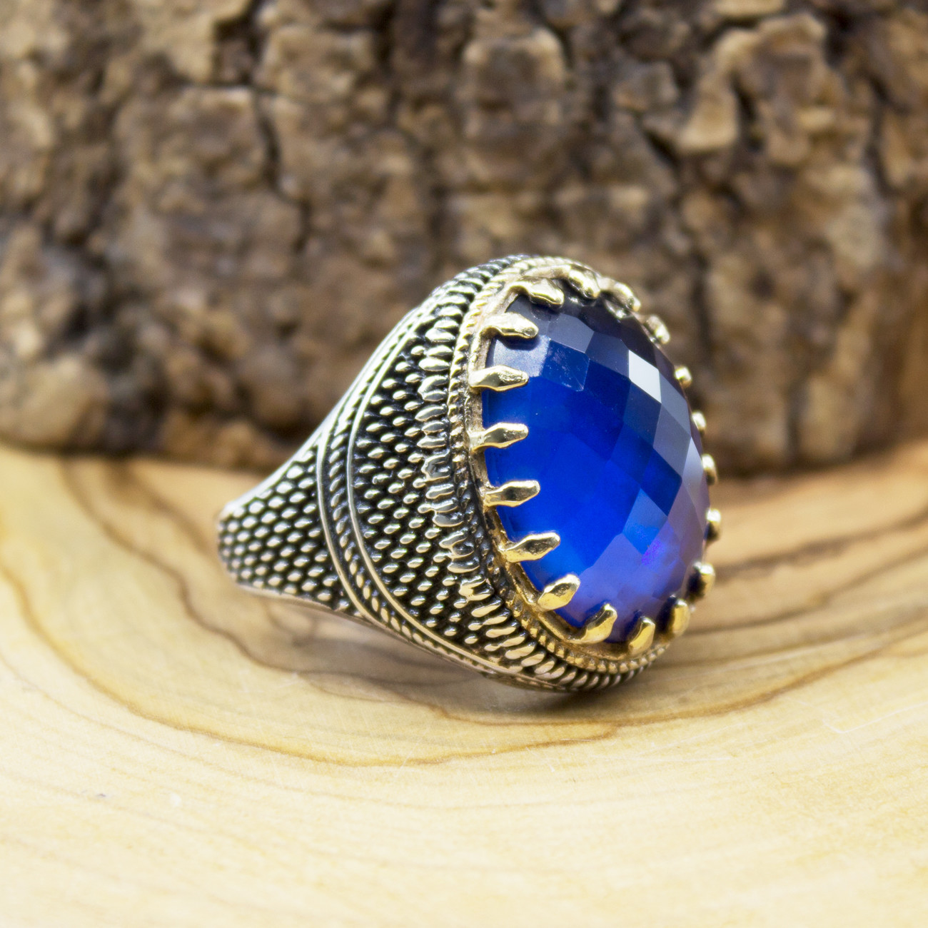 925 Sterling Silver Ring for Men Blue Zircon Stone Jewelry fashion vintage Gift Aqeq Onyx Mens Rings All Size (made in Turkey)