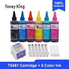 Toney King T0481 Dye Ink Cartridges For Epson Stylus Photo R200 R220 R320 R340 RX500 RX60 Printer + Ink Bottle For 6×100ml