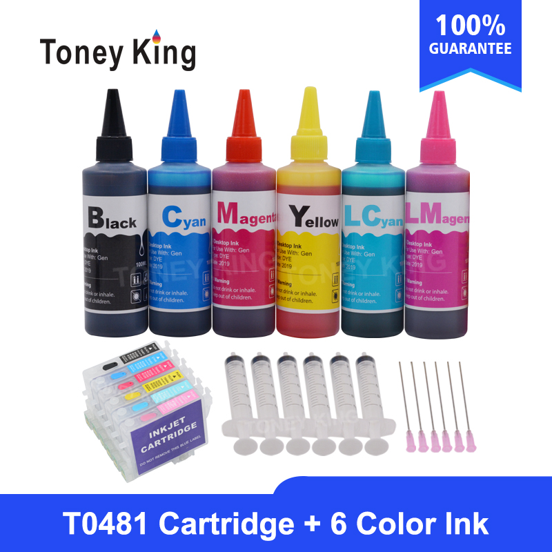 Toney King T0481 Dye Ink Cartridges For Epson Stylus Photo R200 R220 R320 R340 RX500 RX60 Printer + Ink Bottle For 6×100ml image