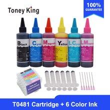 Toney kral T0481 boya mürekkep kartuşları için Epson Stylus fotoğraf R200 R220 R320 R340 RX500 RX60 yazıcı + mürekkep şişesi 6 × 100ml