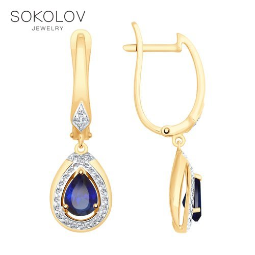 SOKOLOV Drop Earrings With Stones With Stones With Stones With Stones With Stones With Stones With Stones With Stones With Stones With Stones With Stones In Gold With Blue Corundum (synth.) And Cubic Zirconia Fashion Jewelry 585 Women's Male