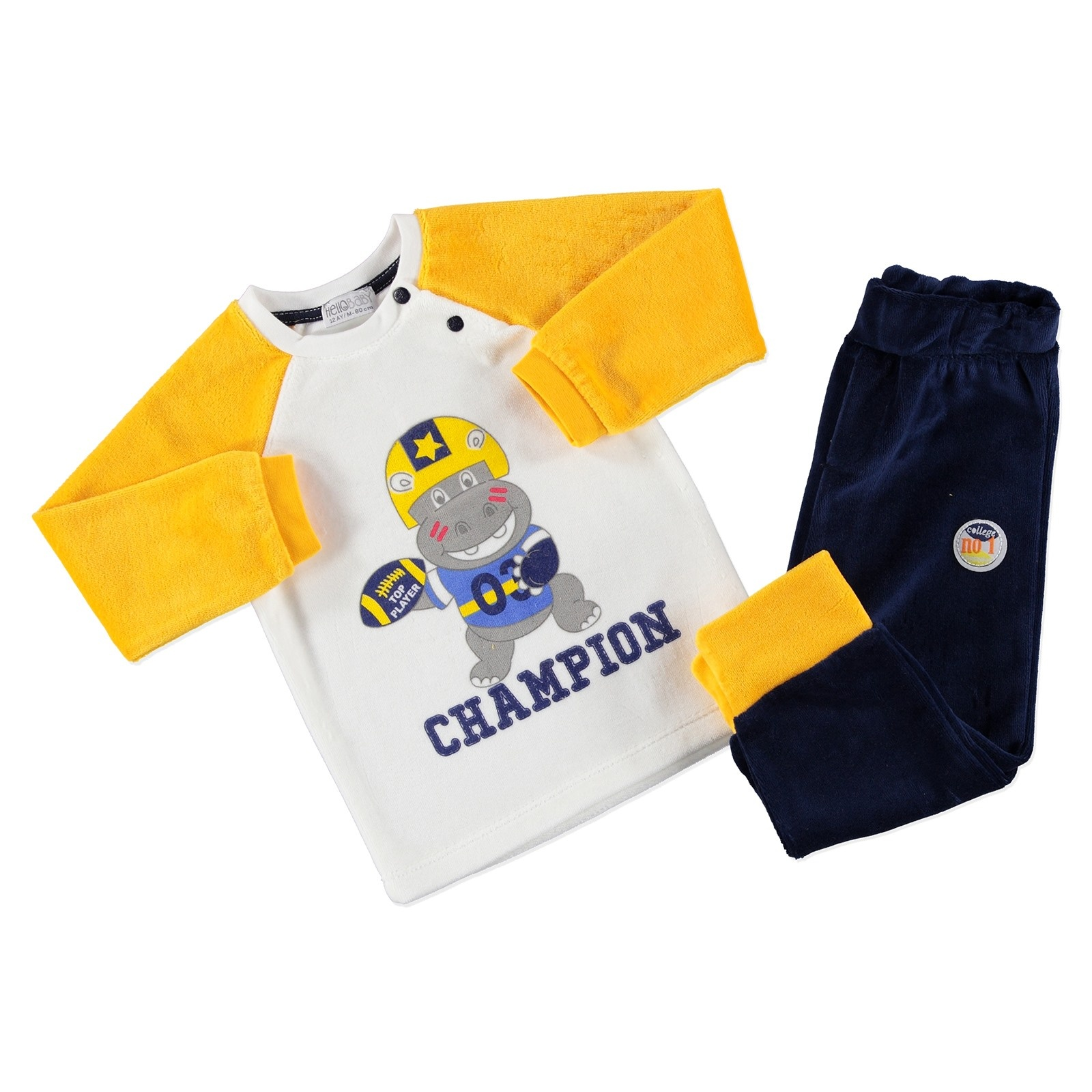 Ebebek HelloBaby Little Champion Baby Sweatshirt Trouser 2 Pack Set