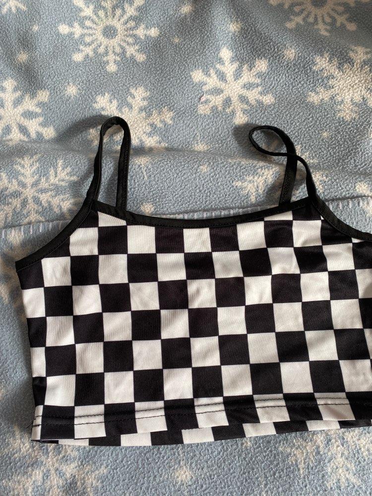 Pastel gothic Egirl Checkerboard Crop Tank Top photo review