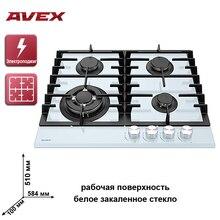 Встраиваемая панель с чугунными решетками AVEX HM 6042 W, ручки металл, панель белое закалённое стекло