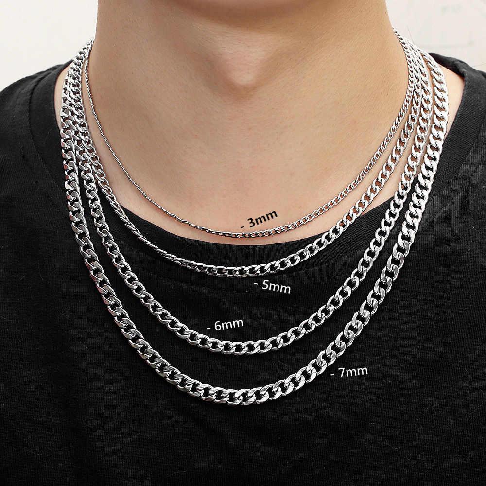 Łańcuch w stylu hip-hop 4mm/5mm/7mm ze stali nierdzewnej łańcuch kubański naszyjnik wodoodporny mężczyźni Link łańcuszek prezent biżuteria długość dostosowane
